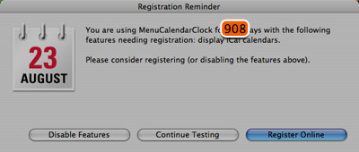 MenuCalendarClock registration window
