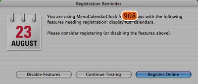 MenuCalendarClock registration window