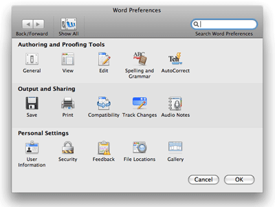 Word 2008's new preferences window